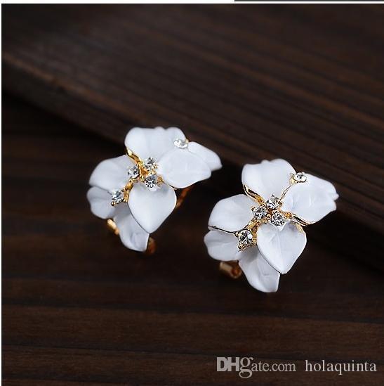 Crystal Gardenia Flower Earring Stud Gold Women Earrings With Buckle Fashion Vintage Jewelry