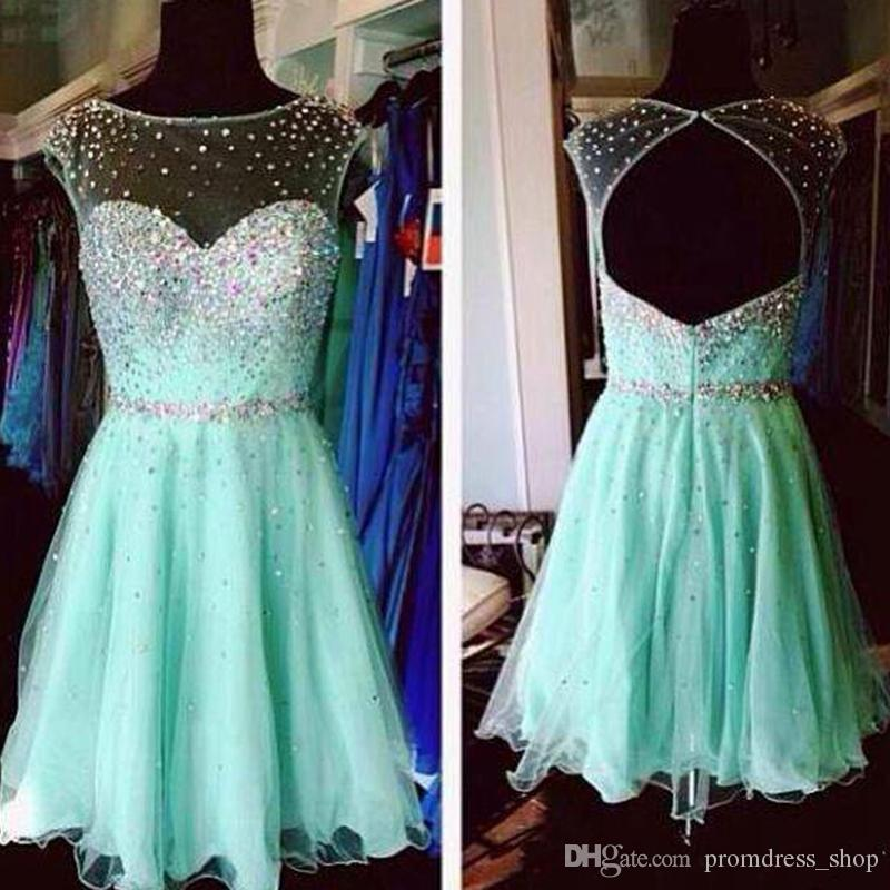 Free Shipping Mint Green Homecoming Dresses 2019 High School Junior Prom Dresses Sheer Neck Beaded Crystals Open Back Party Cocktail Dresses