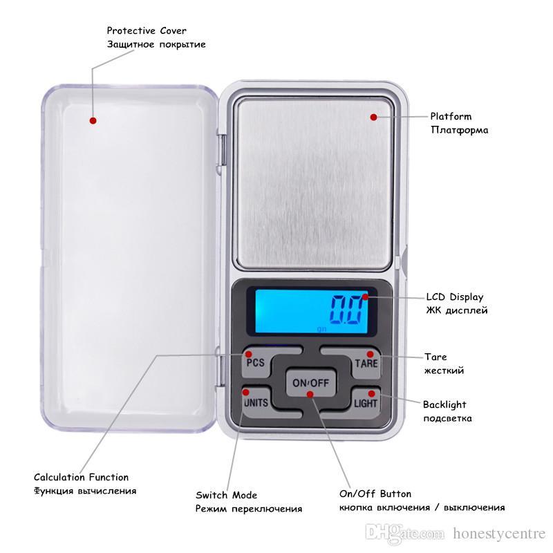 200pcs / lot بواسطة DHL Fedex0.01g 200g LCD الجيب الرقمية وزنها مقياس مجوهرات ميزان مع صندوق البيع بالتجزئة سعر المصنع
