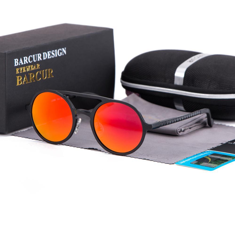 BARCUR круглые солнцезащитные очки Женщины круглые очки алюминий магния солнцезащитное стекло мужчины легкий вес очки подарок