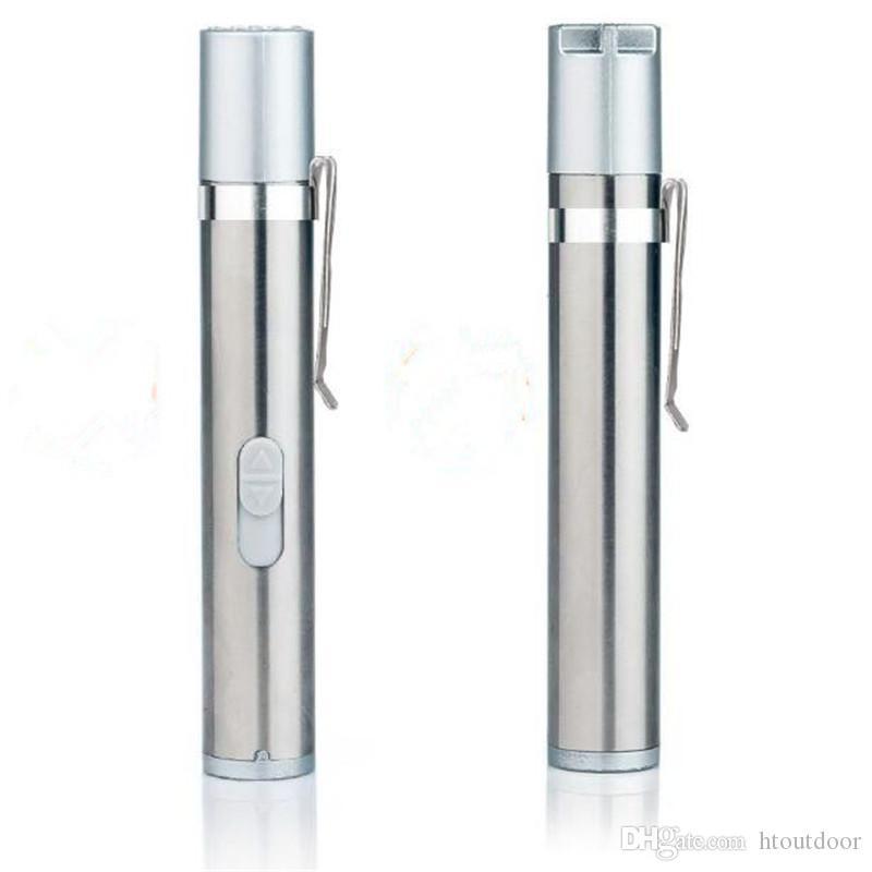 100шт 3 в 1 USB аккумуляторная УФ лазерный фонарик мини медицинская ручка клип теплый белый свет факела
