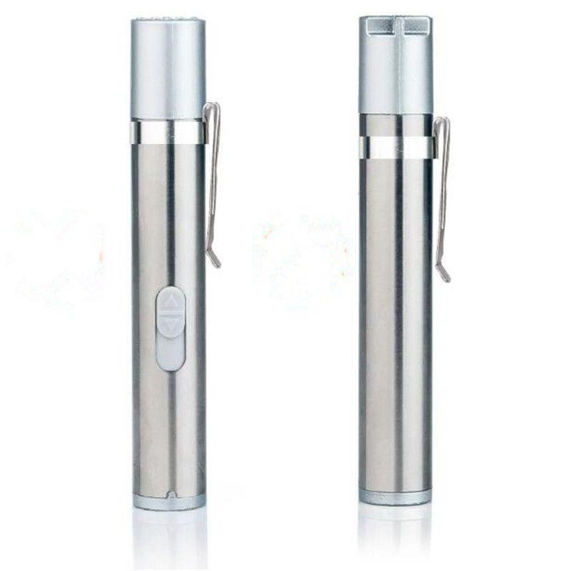 100pcs 3 in 1 USB Rechargeable UV Laser Flashlight Mini Medical Pen Clip Warm White Torch Light