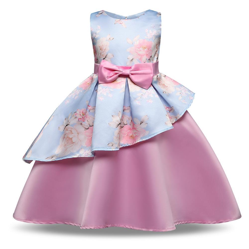 baby girl dresses Wedding Dresses Ball Gowns Kids Dresses kids designer clotheSleeveless Ankle-Length Round Neck Evening Dress Stage costume