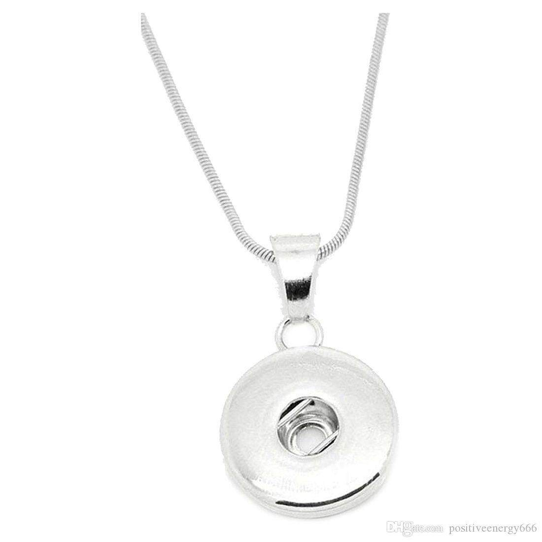 Ciondolo collana noosa modo delle donne per 18 millimetri Snap Button regalo dei monili in acciaio inox catena autentica catena in pelle Lunghezza 60 centimetri