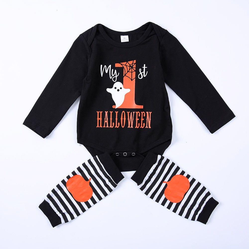 Il mio primo Halloween pagliaccetti del bambino vestiti del capretto fantasma pagliaccetto nero Zucca strisce scaldino del vestito manicotto lungo onesies simpatici bambini vestiti del bambino