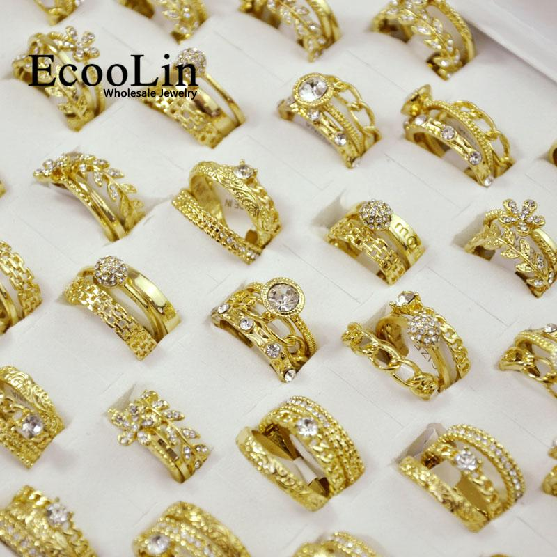 15 Pz 5 Set New Hot 3 in 1 Zircone GoldPlated Anelli Set Per Le Donne Femminile Monili All'ingrosso Lotti Spedizione Gratuita LR4038
