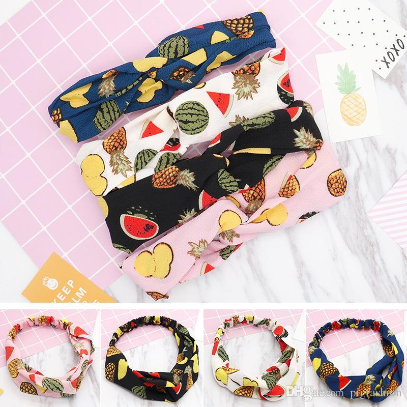 الفاكهة الطباعة جديد الشعر الفرقة الكورية الصليب 100 تغيير جميل الصيف حزام مطاط لسيدة عقال هوب