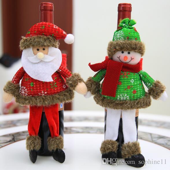 3D cubierta de la botella de vino de navidad regalo de año nuevo titular de la bolsa decoración de navidad para el partido del hogar cena mesa decoración