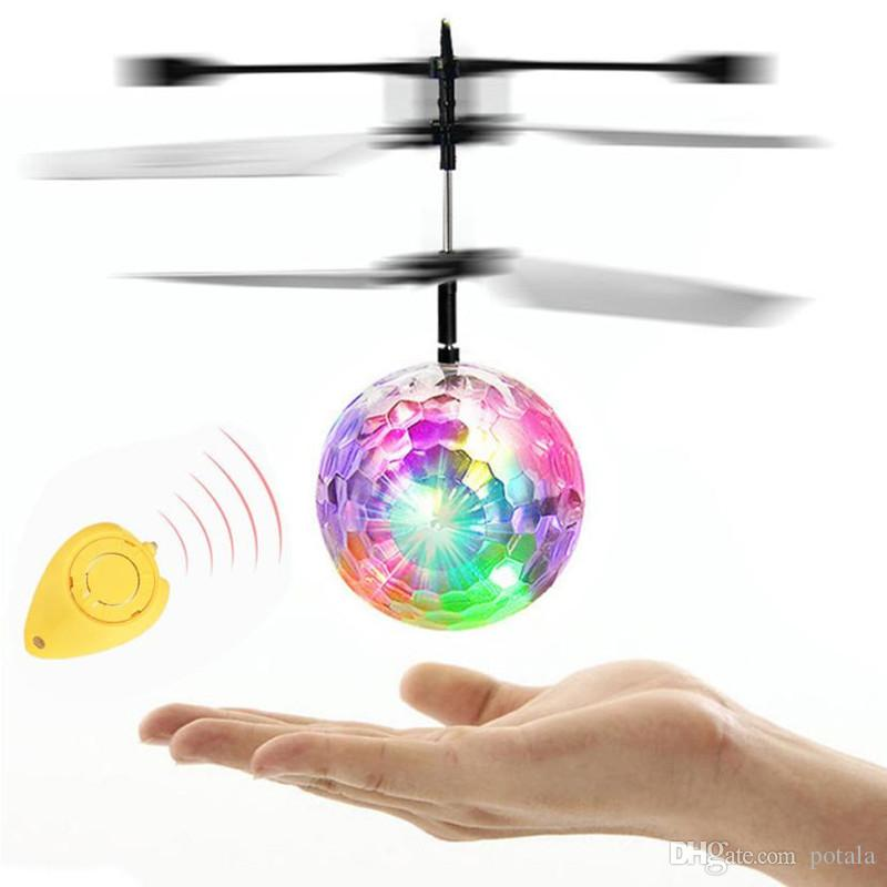 RC Flying Ball LED Flashing Helicopter Remote Control Aircraft Infrared Induction Mini Drone with Colorful Lights toy RC airplane lights