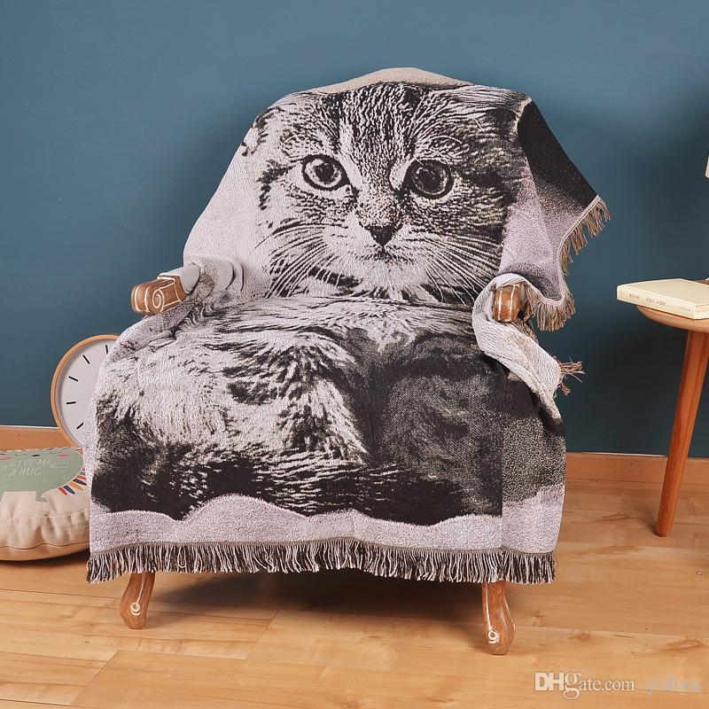 3D Vintage Knitted 100% Cotton Tapestry Bed Sheet Gremial Tassel Cat Sofa Decorative Travel Picnic Classical Carpet Throw Blanket