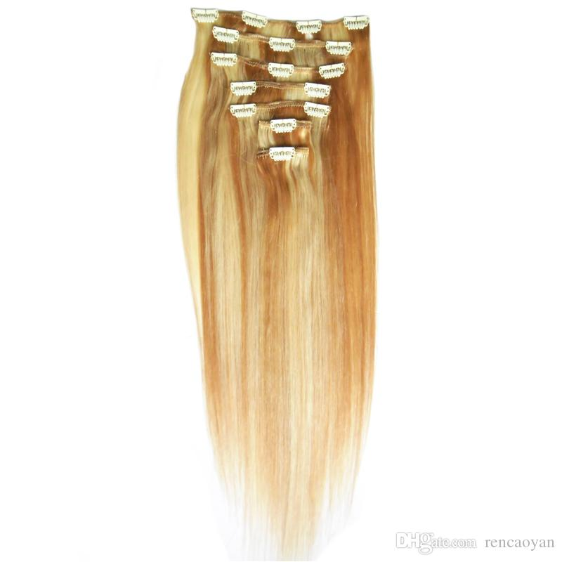 "14"" 16""18""20""22""24"" Clip In Human Hair Extensions Straight Full Head Set 8pcs 100g Machine Made Remy Hair Clip Ins 100% Human Hair Extension"