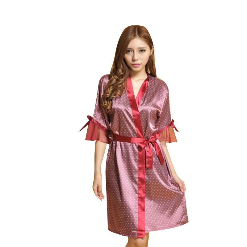 Womens Sleep 가운 여름 캐주얼 새로운 섹시한 잠옷 Noble Night Gown Silk 반 폴카 도트 무릎 길이 Tracksuit 가운 가운
