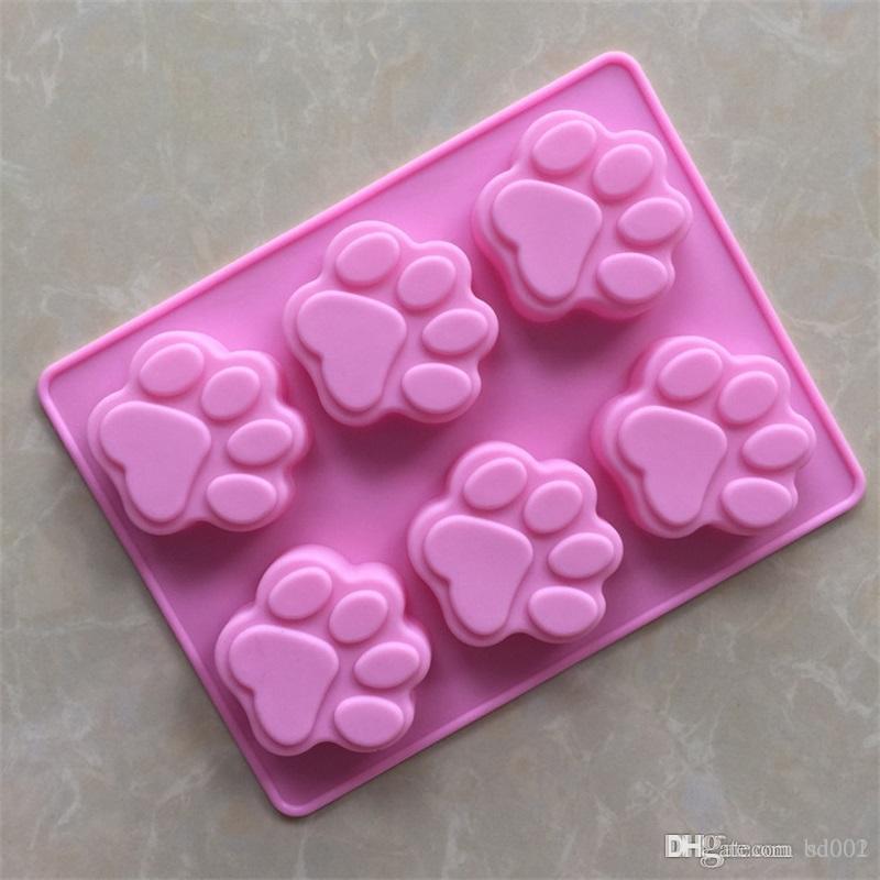 Diy pata em forma de molde do bolo dos desenhos animados feitos à mão moldes de sabão de silicone resistente ao calor sílica gel moldes de cozimento rosa 2 2xg bb