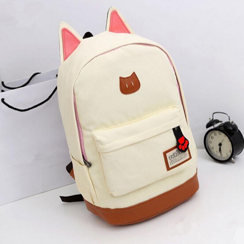 Cute Cat Ear Cartoon Leinwand Rucksack Mädchen Schulranzen Schultasche Rucksack Schultertasche 9 Farben