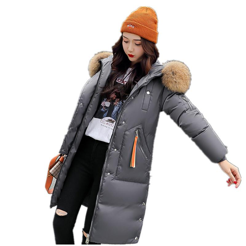 Thick Hooded Fur Collar Cotton Long Parka Plus Size Women Winter Coat Jacket 2018 Clothing for Mujer Feminine De Inverno Casaco S18101505