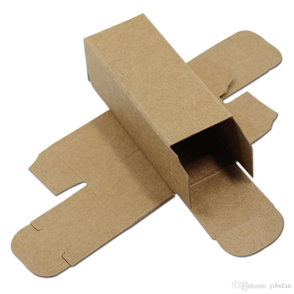 Brown Kraft Paper Cardboard Box Small DIY Craft Paperboard Storage Gift Cosmetic Lipstick Packaging 6 Sizes 50Pcs