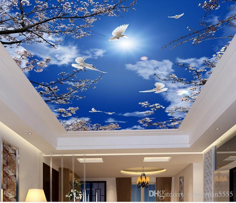 Özel 3d duvar kağıdı tavan Otel Kiraz çiçeği, duvarlar için mavi gökyüzü duvar kağıdı 3d tavan duvar kağıdı