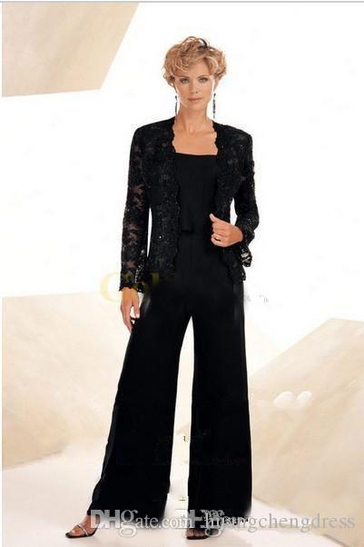 Vintage Black Chiffon Mother of the Groom Dresses Spaghetti Strap with Lace Jacket Mother of the Bride Pant Suit