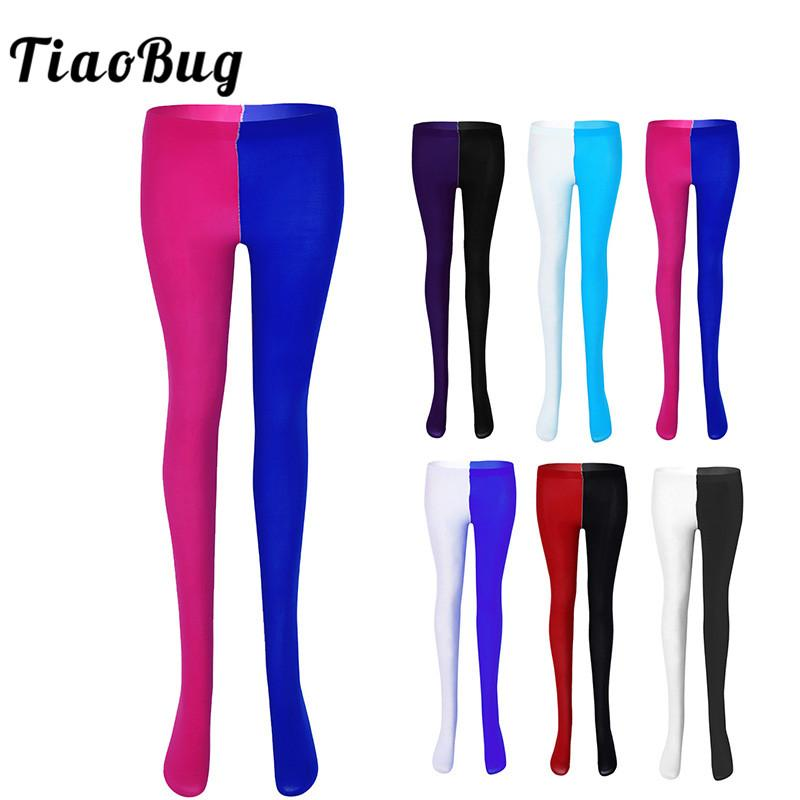 TiaoBug Unisex Adult Patchwork Halloween Cosplay Party Jester Clown Costume Full Footed Tights Pantyhose with Reinforced Toe