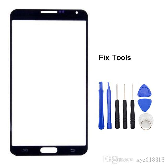 High Quality New Front Glass Lens Touch Screen LCD Outer Panel For Samsung Galaxy Note3 Note 3 N900 N9005 N900F + Replacement Tools