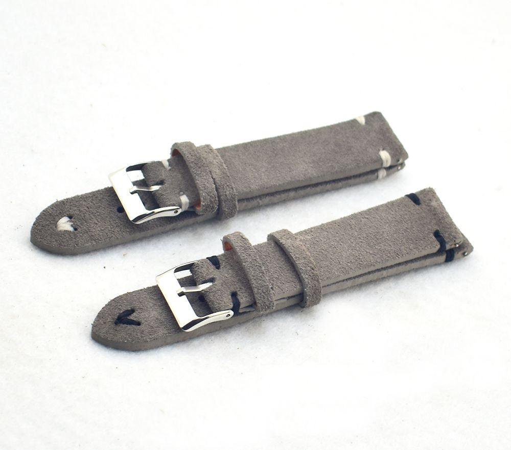 Bandas de reloj Retro de Cuero Genuino Hombres Mujeres 18mm 20mm 22mm 24mm Suave Suede Reloj Correa de Metal Pin Hebilla Accesorios KZSD05