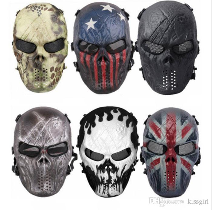 2018 Army Mesh Full Face Mask Skull Skeleton Airsoft Paintball BB Gun Game Protect Safety Mask