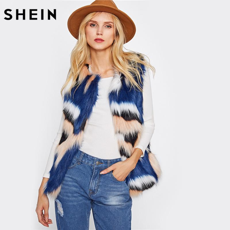 SHEIN Colorido Faux Fur Vest Outono Inverno Coletes para As Mulheres Multicolor Collarless Colete Casaco Outerwear Outono Mulher