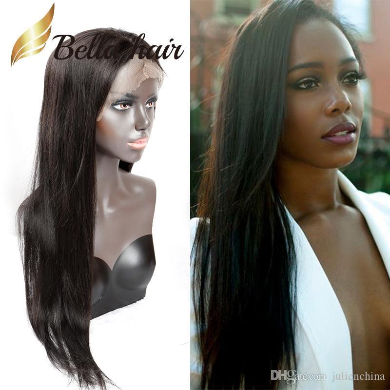 Gerade Brasilianische Haar Glueless volle Spitze Perücken für schwarze Frauen 10-24inch Natürliche Farbe Vordere Spitze Lange Perücken Menschliches Haar Bellahair 130% 150%