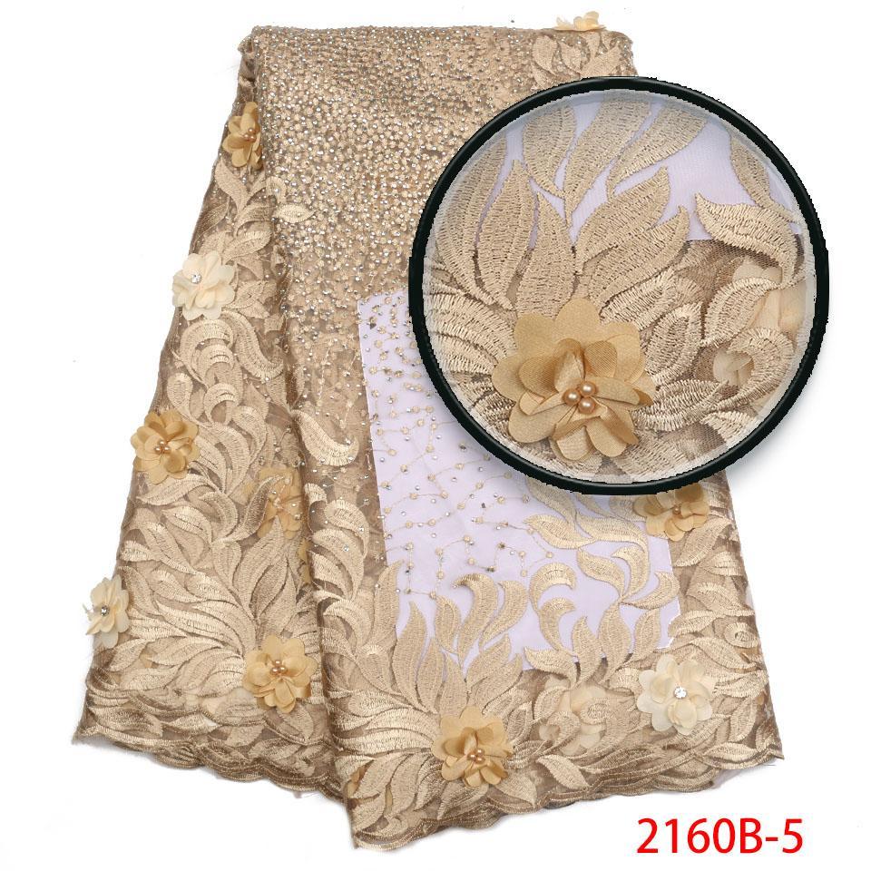 Altın Afrika Dantel Kumaş 2018 Yüksek Kalite Dantel Fransız Örgü Kumaş Boncuklu Taşlar Kadın Elbise GD2160B-2 Için Nijeryalı Dantel Kumaşlar