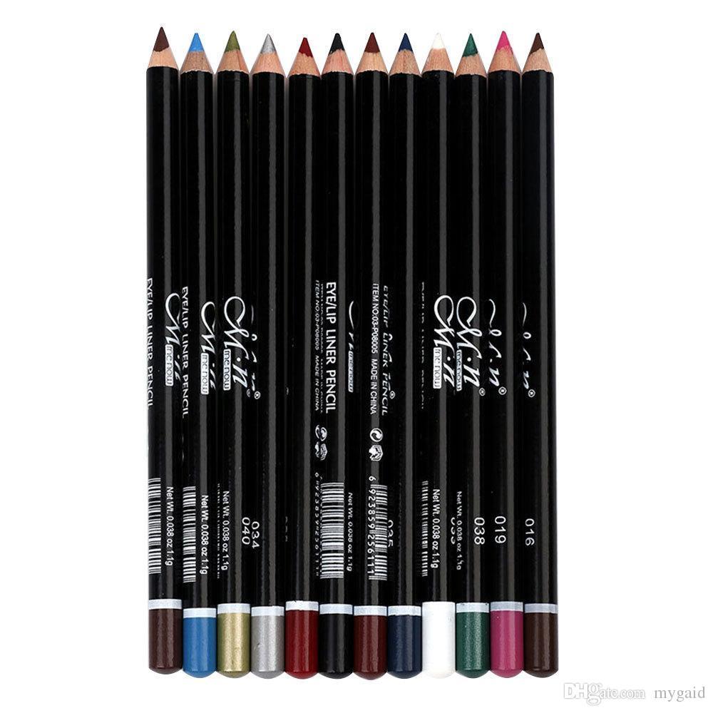 Menow 12 الألوان / مجموعة من كحل 03-P08005 كحل أداة طويلة الأمد للماء السائل emakeup اثنين كحل القلم dhl شحن مجاني