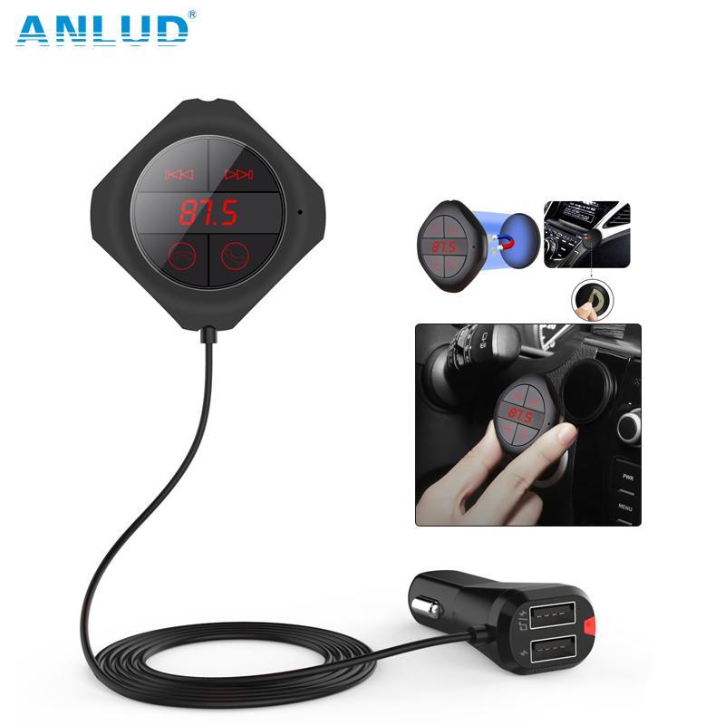wholesale Bluetooth Handsfree Car Kit Wireless FM Modulator Magnetic Sticker Dual USB Charge FM Transmitter Bluetooth Car MP3 Player