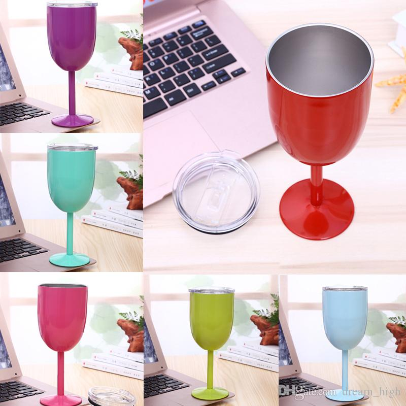 304 Stainless Steel Vacuum Wine Glass Cup 10oz 9 Colors Double Wall Insulated Metal Goblet With Lid Red Wine Mugs
