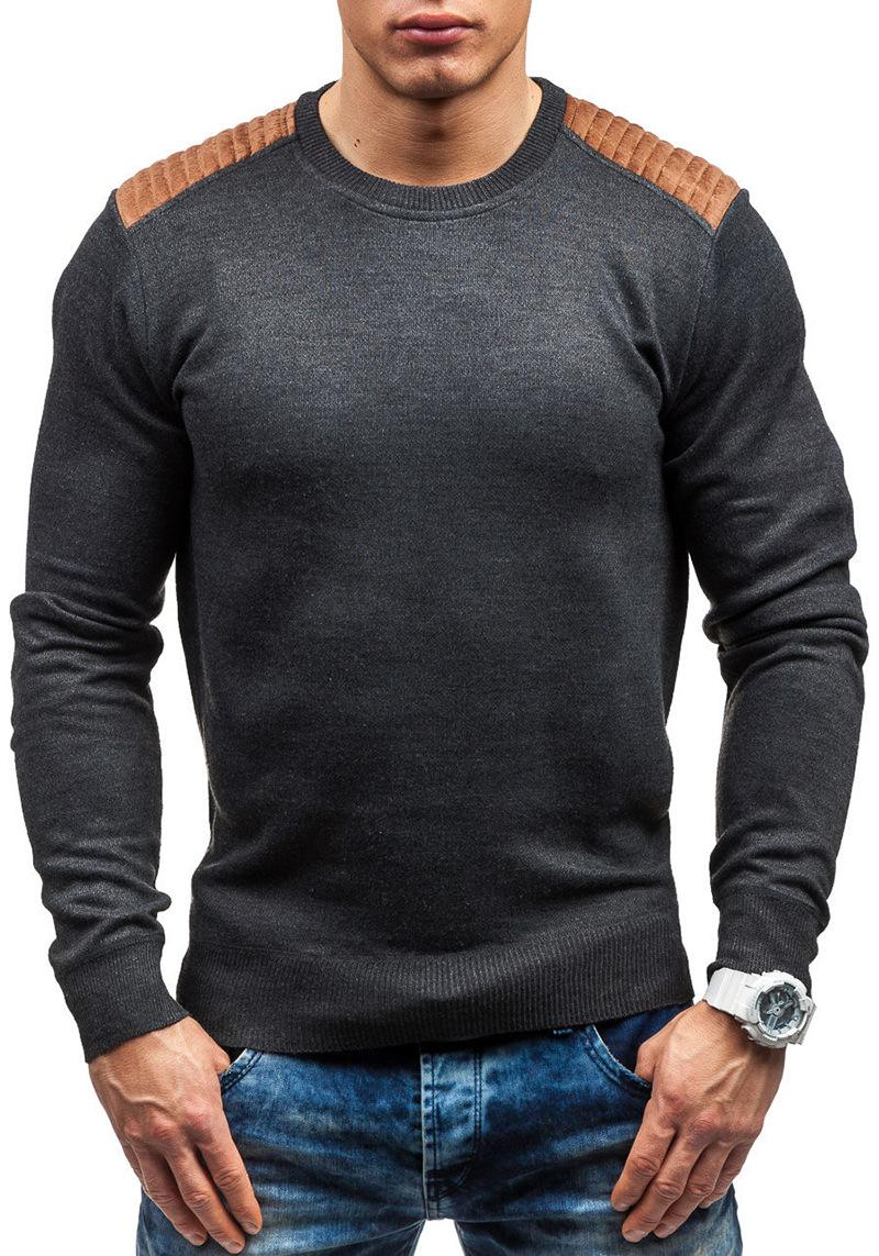 Suéteres para hombre Helisopus Invierno Térmico Ropa interior Jersey Casual Slim O-Cuello Camisa Caliente Suéter de punto Suede Patch Cobertura