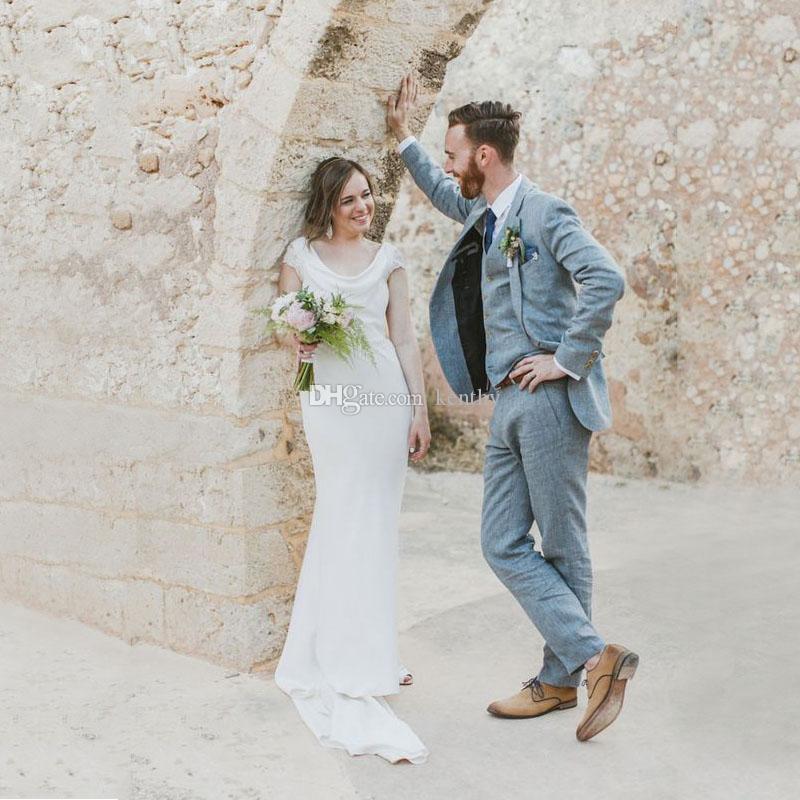 Mavi Keten Erkekler Düğün yelek Sahil Düğün Slim Fit Damat Smokin Custom Made Balo Sağdıç Blazer Ceket Pantolon Wear 3 parça Takımları