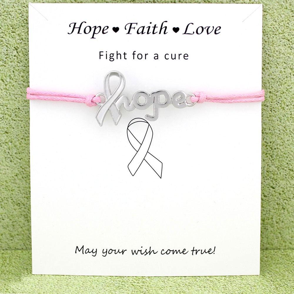 Борец рака молочной железы Осведомленность Pink Ribbon Antique Silver Charm карты Браслеты карты Женщины Мужчины ювелирные изделия на заказ цветы