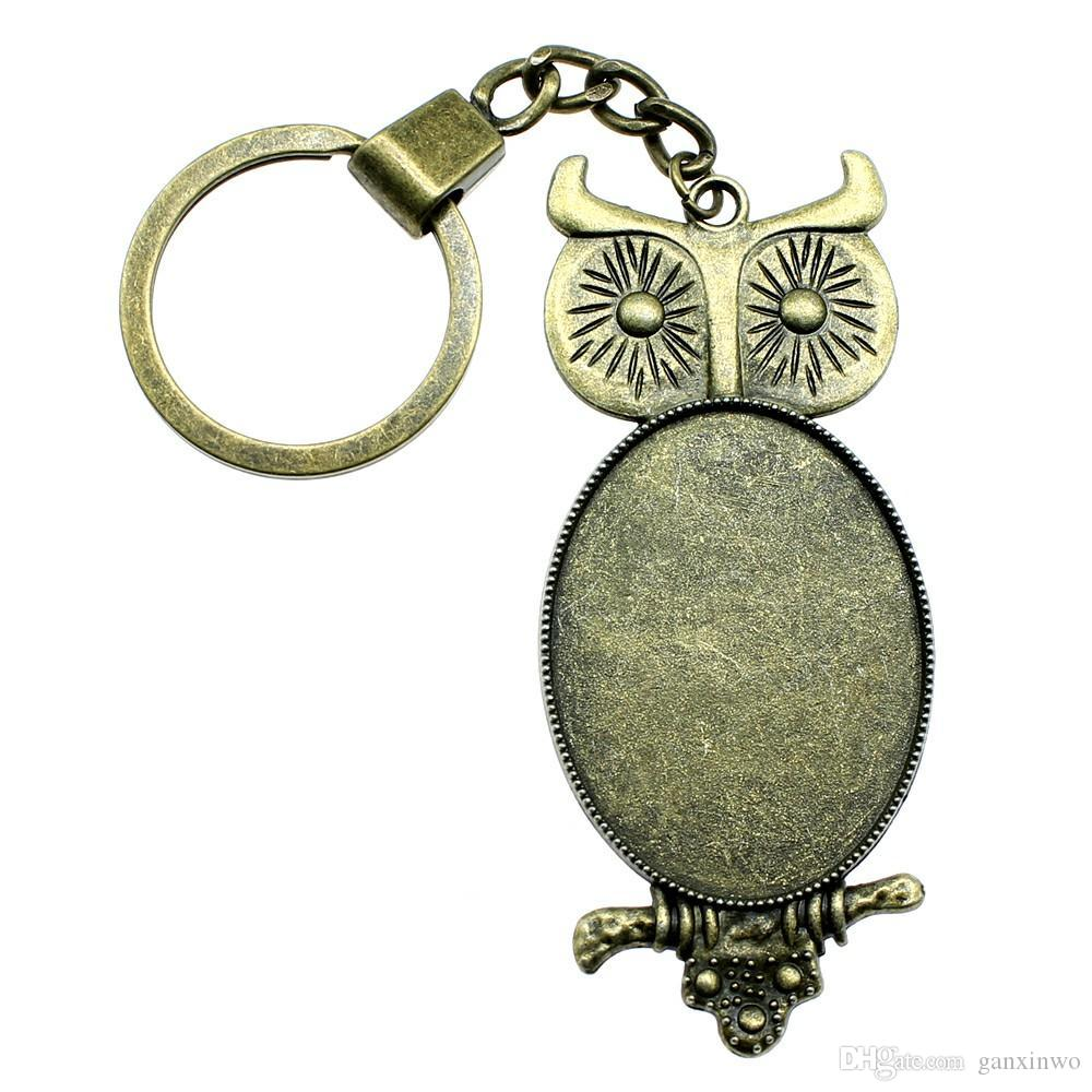 6 Pieces Key Chain Women Key Rings Car Keychain For Keys Owl Single Side Inner Size 30x40mm Oval Cabochon Cameo Base Tray Bezel Blank