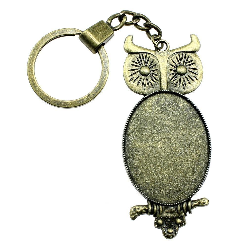 6 Pieces Key Chain Women Key Rings Car Keychain For Keys Owl Single Side Inner Size 30x40mm Oval Cabochon Cameo Base Tray Bezel Blank
