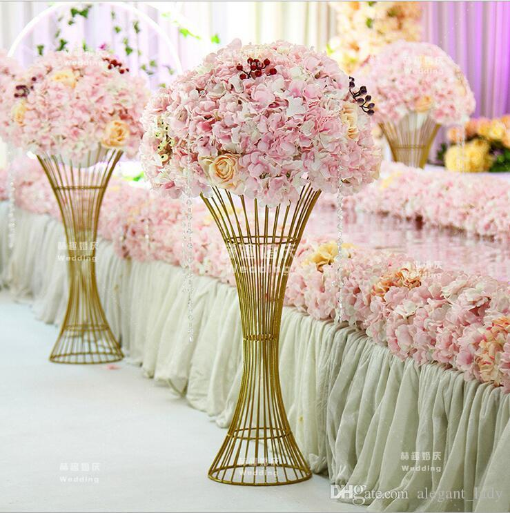 Floor Vase Metal Flower Vase Columns Aisle Pillar Table Centerpiece For Marriage gold Metal Flowers Vases Road Cited For Wedding Decoration