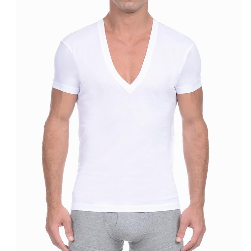 Erkek Derin V Boyun T Gömlek Kısa Kollu Katı Casual Fanila Erkek Pamuk Yaz Temel T-shirt