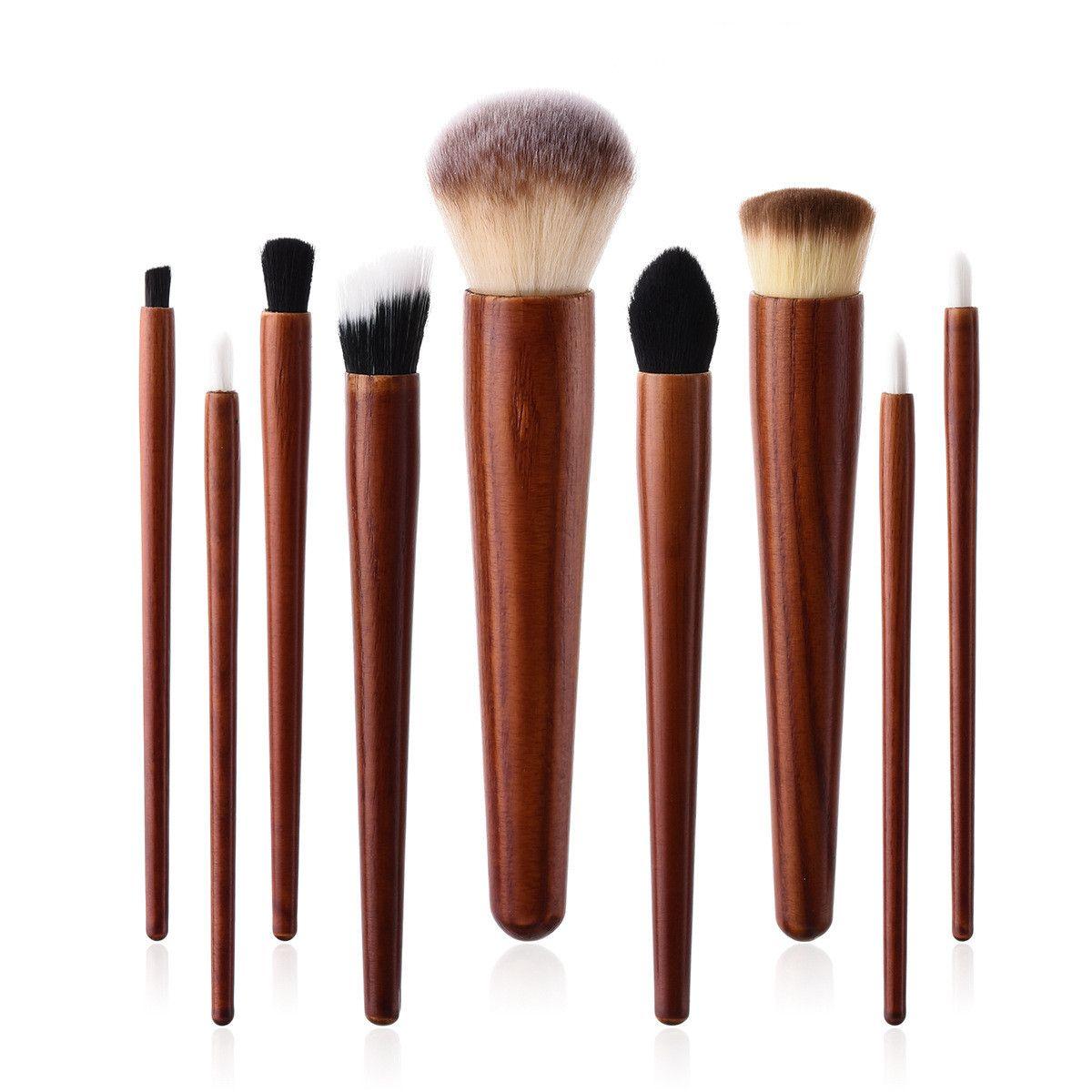 9Pcs/set Cosmetic Makeup Brushes Set Wood Handle Foundation Power Eye Shadow Brow Concealer Blending Contour Beauty Brush Tools Kits