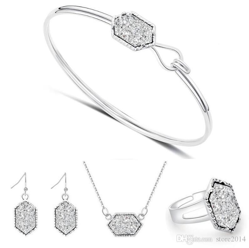 Mode Druzy Drusy Schmuck Sets Beliebte Faux Stein Türkis Armreif Ohrringe Halskette Ring Für Frauen Dame Schmuck
