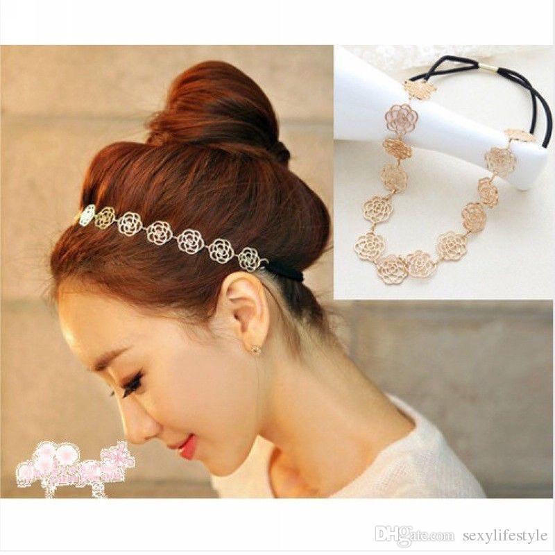 2 teile / los Neue Mode Schöne Metallische Frauen Hohle Rose Blume Elastisches Haar Kopf Band Stirnband Headwear Zubehör