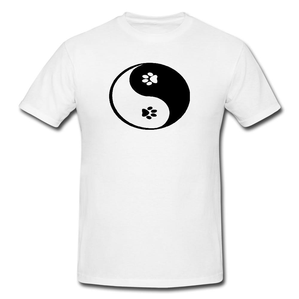 Ying Yang Patas Mens Ou Lady Fit T Shirt-T-shirt Cão Animais de Estimação Legal Casual Orgulho T Shirt Homens Unisex Nova Moda Tshirt Solto tamanho