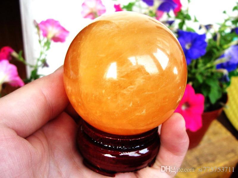 40 MM + KUM Doğal Citrine Kalsit Kuvars Kristal Küre Topu Şifa Taş