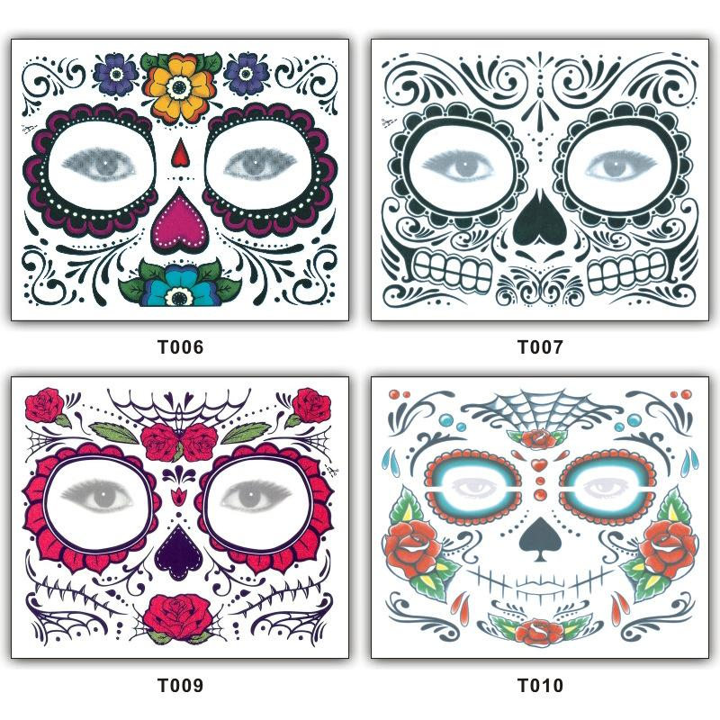 4styles Halloween Flowers Temporary Tattoo Sticker Scars Terror Halloween Pattern Eyes Face Waterproof Self Adhesive Paste stickers FFA942