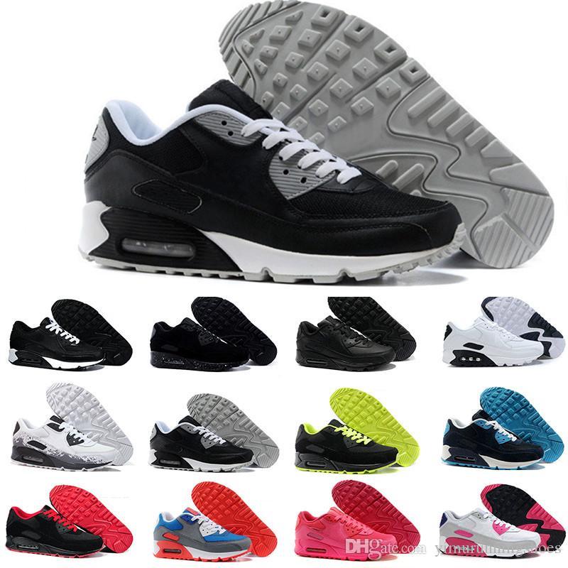 أحذية رياضية رجالي الكلاسيكية 90 الرجال والنساء الاحذية أسود أحمر أبيض الرياضة المدرب وسادة سطح تنفس الأحذية الرياضية 36-46