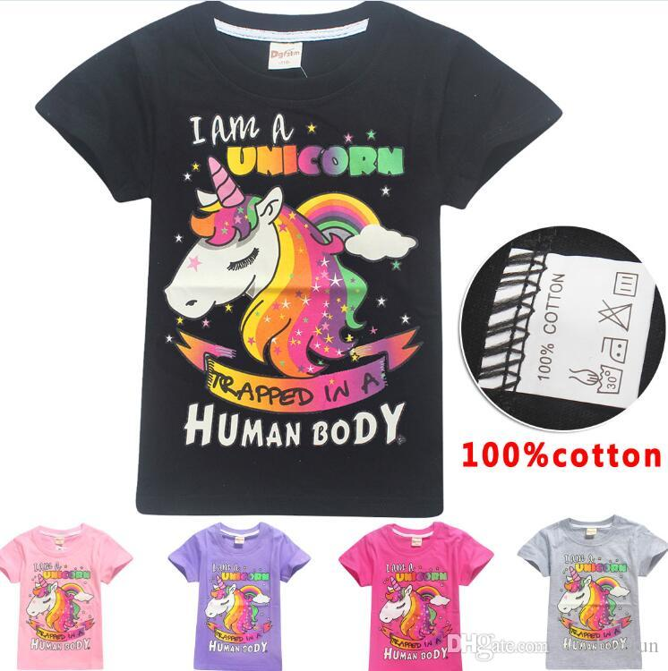 5 Color INS Unicorn Girls t shirt 2018 New Children fashion cotton Short sleeve t shirt Baby kids clothing for 6~14years