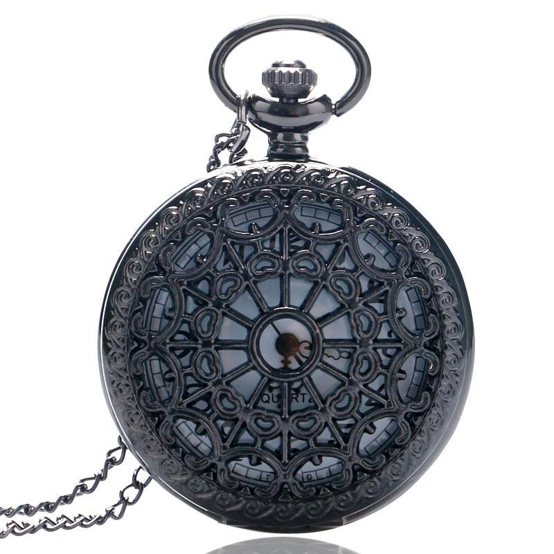 Vintage Bronze Web Spider Quartz Pocket Watch Chain Antique Necklace pendant Women Men Fob Watches Fashion Clock Gift