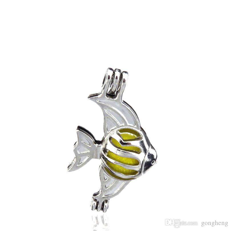 10 pz / lotto Argento Lega Mini Vela Pesce Grasso Ostriche Perle Gabbia Ciondolo Locket Profumo Aromaterapia Oli Essenziali Diffusore