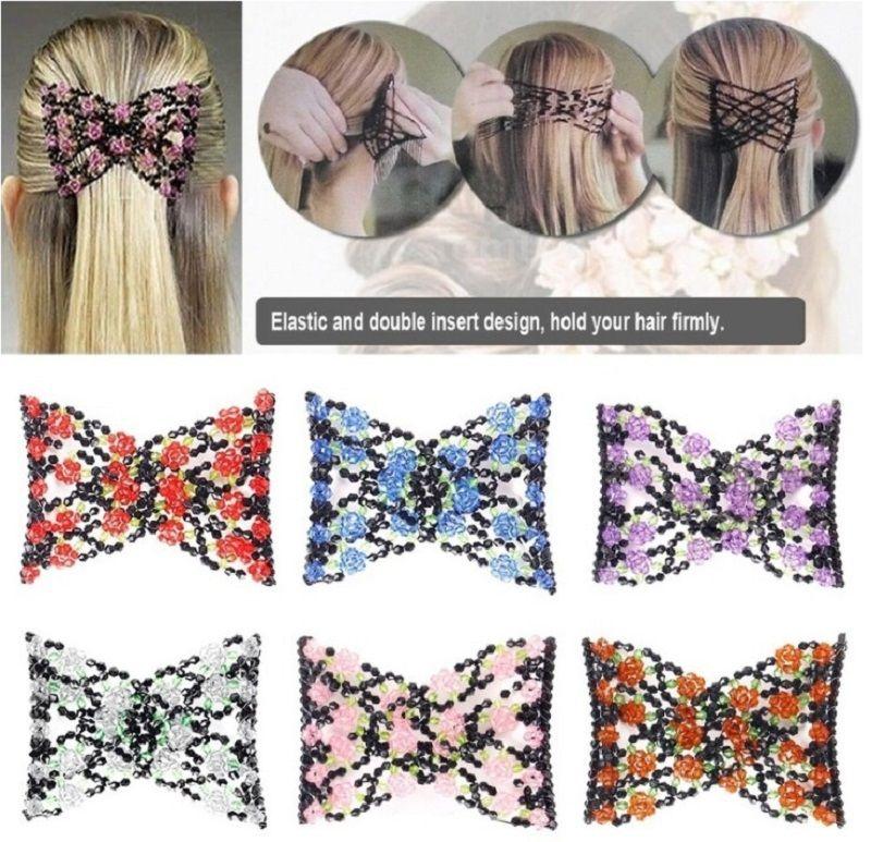 Vintage Jewelled Perlen Elastische Stretch Rose Blume Bogen Glasperlen Manschette Doppeleinsatz Clips Headwear Magic Hair Comb 8 Farben